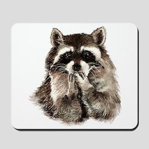 Cute Humorous Watercolor Raccoon Blowing a Kiss Mo