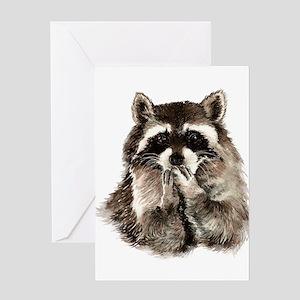 Cute Humorous Watercolor Raccoon Blowing a Kiss Gr