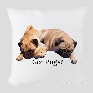 Got Pugs? Woven Throw Pillow