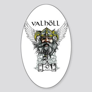 Valhöll Viking Warrior Sticker (Oval)