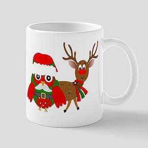 Santa and Reindeer Owl Mugs