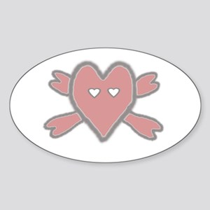 Heart and Crossbones Oval Sticker