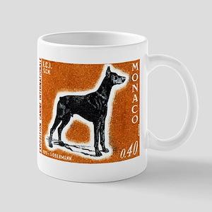 Vintage 1970 Monaco Doberman Dog Postage Stamp Mug