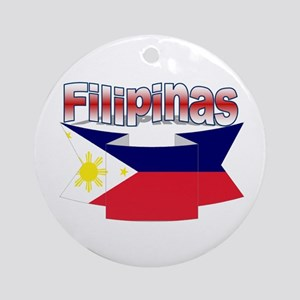 Philippines flag ribbon Ornament (Round)