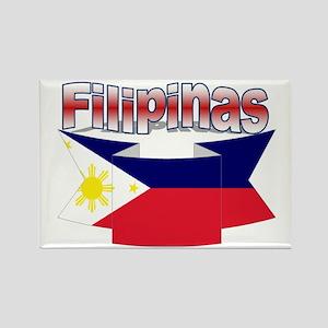 Philippines flag ribbon Rectangle Magnet