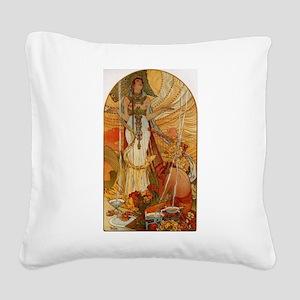 Mucha Muchacha Square Canvas Pillow