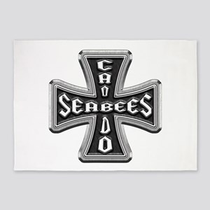 US Navy Seabees Iron Cross 5'x7'Area Rug