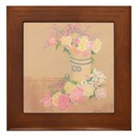 Country Urn Bouquet Framed Tile