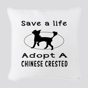 Adopt A Chinese Crested Dog Woven Throw Pillow