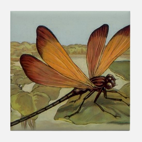 Art Deco Dragonfly Tile Coaster