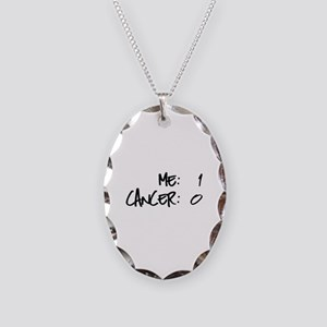 Cancer Survivor Humor Necklace Oval Charm