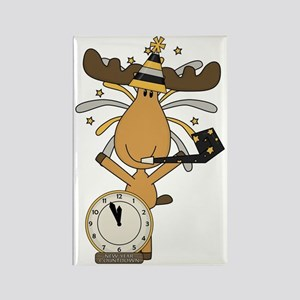 New Years moose Rectangle Magnet