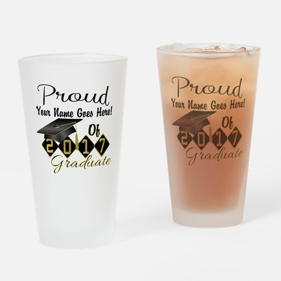 Proud 2017 Graduate Black Drinking Glass