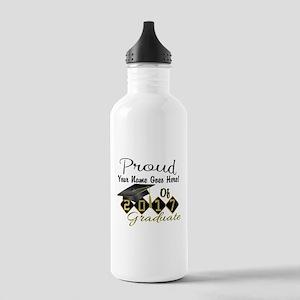 Proud 2017 Graduate Black Water Bottle