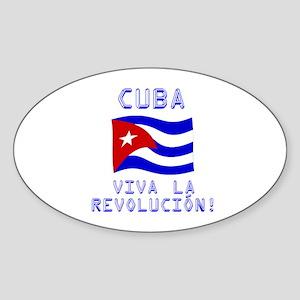 Cuba - Viva La Revolución Oval Sticker