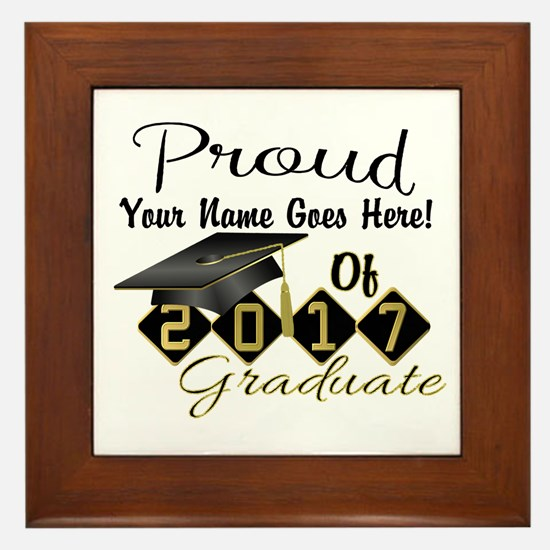 Proud 2017 Graduate Black Framed Tile