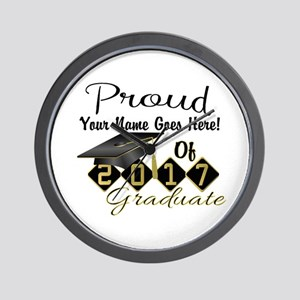 Proud 2017 Graduate Black Wall Clock