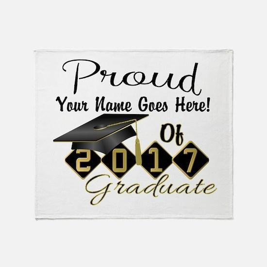 Proud 2017 Graduate Black Throw Blanket