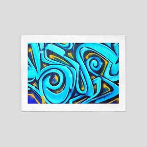 Blue Graffiti 5'x7'Area Rug