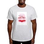 Valentine Flamingos Ash Grey T-Shirt