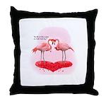 Valentine Flamingos Throw Pillow