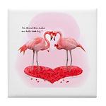 Valentine Flamingos Tile Coaster