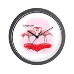 Valentine Flamingos Wall Clock