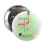 St Patrick's Day Flamingo Button