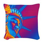 Pop Art Statue of Liberty Woven Throw Pillow