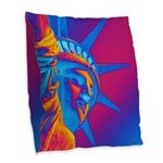 Pop Art Statue of Liberty Burlap Throw Pillow