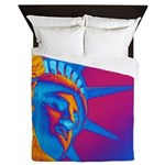 Pop Art Statue of Liberty Queen Duvet