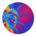 Pop Art Statue of Liberty Round Car Magnet