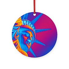 Pop Art Statue of Liberty Round Ornament