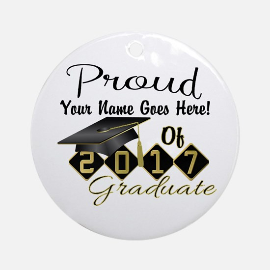 Proud 2017 Graduate Black Round Ornament