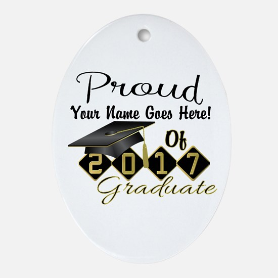 Proud 2017 Graduate Black Oval Ornament