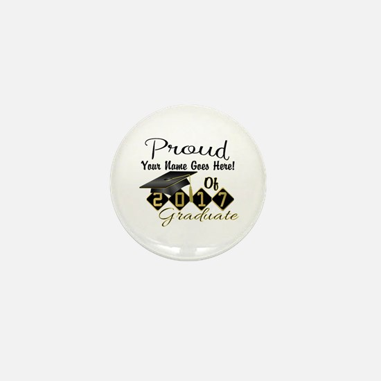 Proud 2017 Graduate Black Mini Button