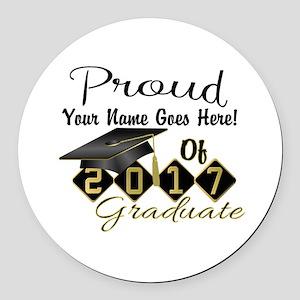 Proud 2017 Graduate Black Round Car Magnet