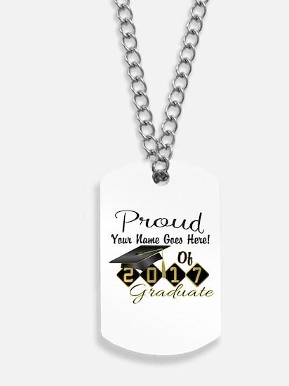 Proud 2017 Graduate Black Dog Tags
