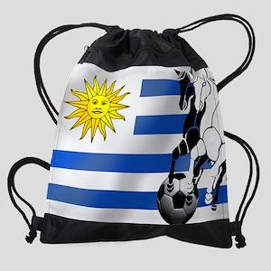 Uruguay Soccer Flag Drawstring Bag