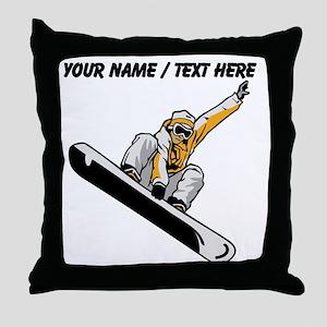 Custom Snowboarder Throw Pillow