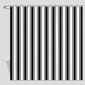 Black White Ticking Stripe Shower Curtain