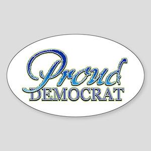Classy Proud Democrat Oval Sticker