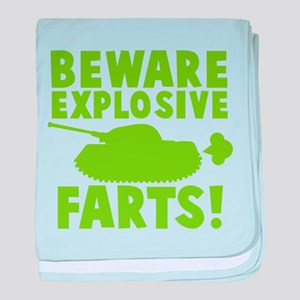 BEWARE explosive farts! with a tank baby blanket