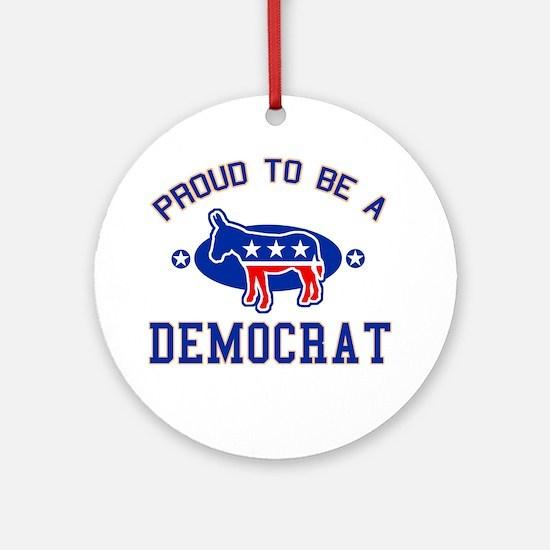 Collegiate Proud Democrat Ornament (Round)