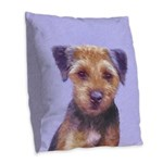 Border Terrier Burlap Throw Pillow