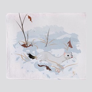 Ermine in the Snow Throw Blanket