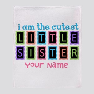 Cutest Little Sister Personalized Throw Blanket