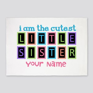 Cutest Little Sister Personalized 5'x7'Area Rug