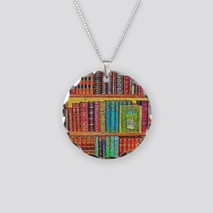 Library Necklace Circle Charm
