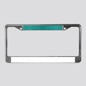 Blue-Green Suede Leather Look License Plate Frame